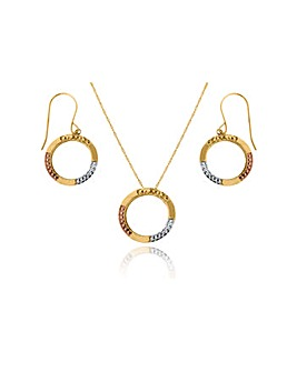 9ct Gold 3 Tone Circle Pendant & Earring