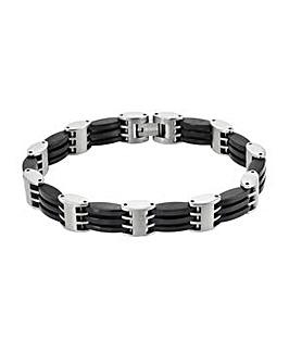 Titanium And Black Gents Bracelet