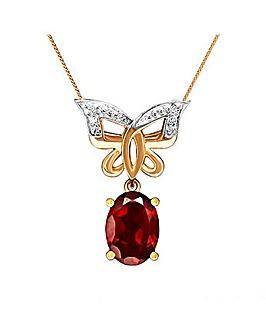 9CT Yellow Gold Garnet Diamond Pendant