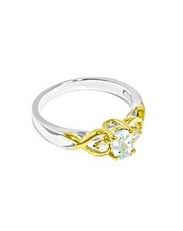 9ct Ladies White Gold Blue Topaz Ring
