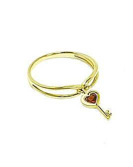 9CT Yellow Gold Garnet Key Charm Ring