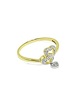 9CT Ladies Yellow Gold Double Heart Ring