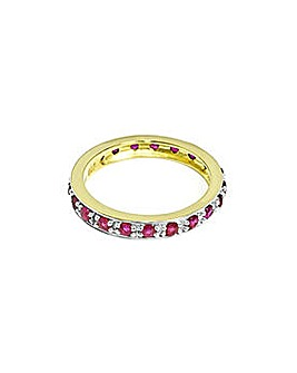 Ladies 9ct Yellow Gold Ruby Full ET Ring