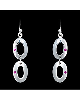 Silver and Pink Sapphire Drop Earrings