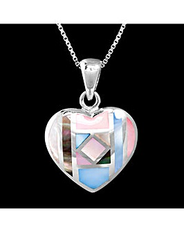 Silver Mother of Pearl Heart Pendant