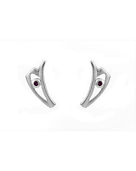 Silver and Pink Sapphire Stud Earrings