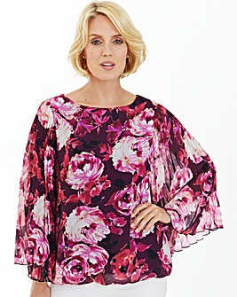 Nightingales Pleat Sleeve Print Blouse