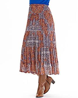 Nightingales Print Chiffon Tiered Skirt