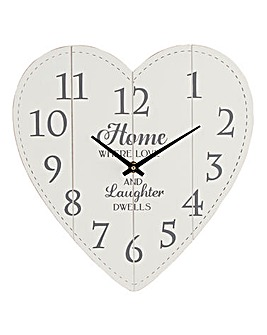 Shabby Chic Heart Wall Clock