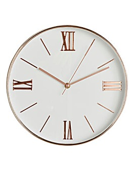 Hometime Rose Gold and White Clock