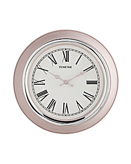Plastic and Chrome Wall Clock - Pink