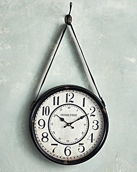 Hometime Distressed Metal Hanging Clock