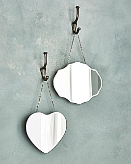 2 Scalloped Edged Hanging Scatter Mirror