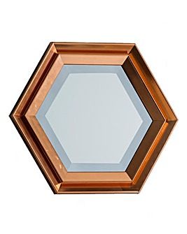 Faulkner Copper Hexagon Mirror