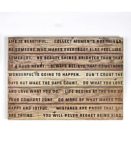 G & B Life is Beautiful Print On Wood