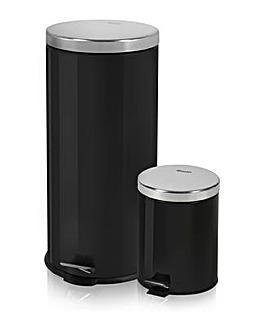 Swan 30L & 5L Round Pedal Bins - Black