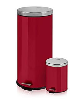 Swan 30l & 5l Round Pedal Bins - Red