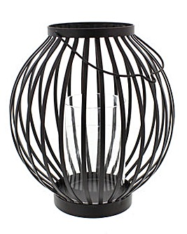 Round Hanging Lantern Metal Stripe Large