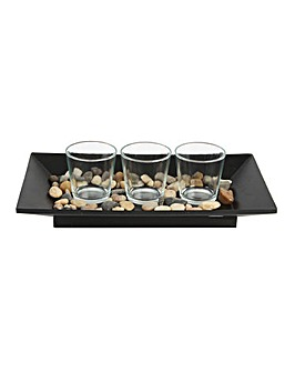 Tealight Holders on Tray with Stones