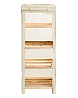 Tall Wooden Shelf Unit with Canvas Cover