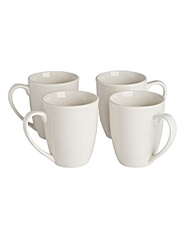 Serenity White Set of 4 Mugs