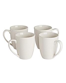 Serenity White Set of 4 Mugs