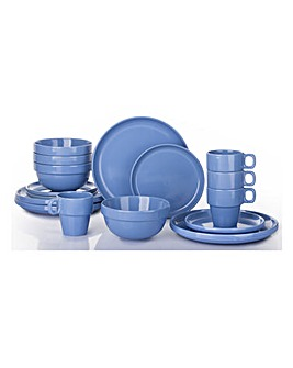 Blue 16 Piece Easy Stack Dinnerset