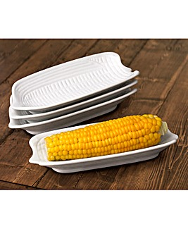 Set of 4 White Corn on the Cob Dishes