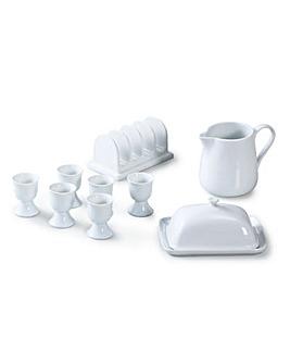 White Porcelain 9 Piece Breakfast Set