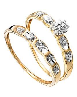 9 Carat Gold Diamond Ring Set