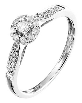 9 Carat White Gold 1/2 Ct Cluster Ring