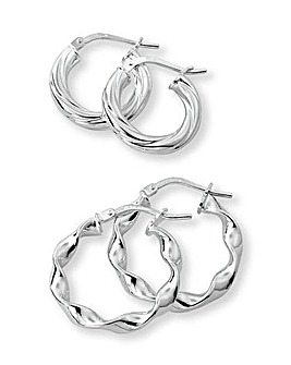 Sterling Silver Set 2 Hoop Earrings