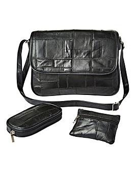 Leather Multi Patchwork 3 Piece Bag Set