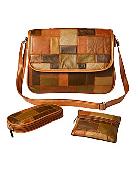 Leather Multi Patchwork 3 Piece Bag Set