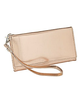 Metallic Rose Gold Phone Purse