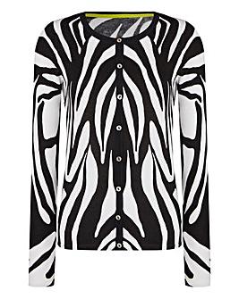 Zebra Crew-Neck Cardigan