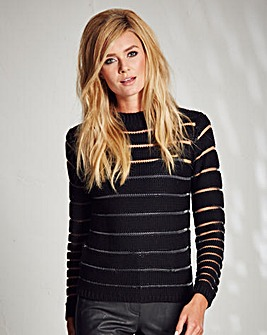 Sheer Stripe Knitted Jumper