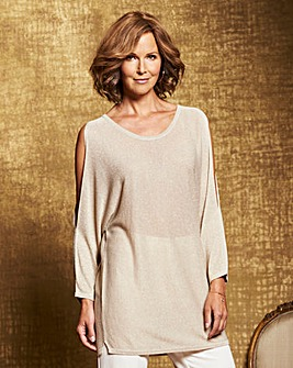 Metallic Cold Shoulder Jumper