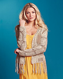 Suedette Crochet Patch Cardigan