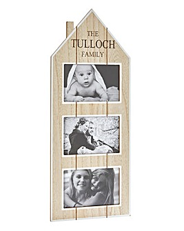 Personalised House Triple Photo Frame