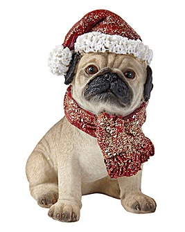 Christmas Pug Figurine