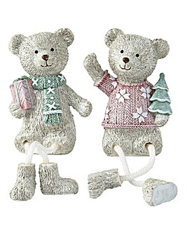 Set 2 Christmas Danggly Bears