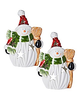 Set of 2 Snowman Tealight Holders