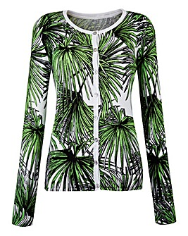 Palm Print Crew-Neck Cardigan