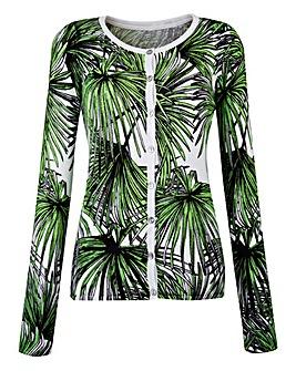 Palm Print Crew-Neck Cardigan