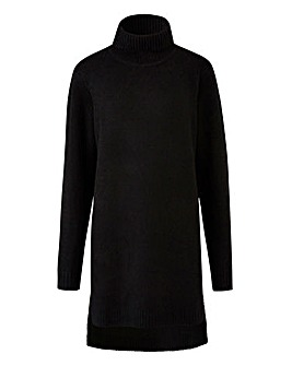 Black Boucle Roll Neck Tunic