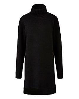 Black Boucle Roll Neck Tunic