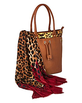 Tan Leopard Bag and Scarf Set