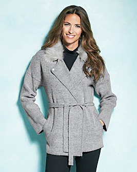 Belted Faux Fur Collar Coatigan