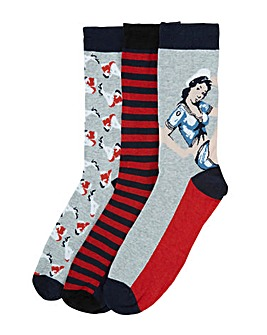 Joe Browns 3 Pack Pin-Up Socks